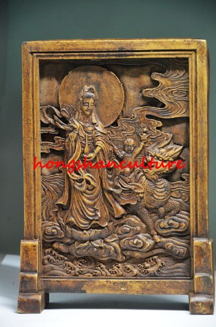 Antique Alabaster Guanyin Screen