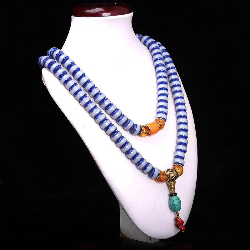 Blue & White glass Mala