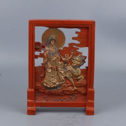 Antique cinnabar Kwanyin screen