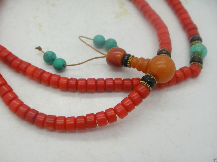 Tibetan Coral Buddhist Mala