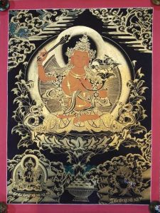 Tibetan thangka of Manjushri in 24k Gold