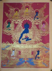 Medicine Buddha Tibetan Thangka 24k Gold