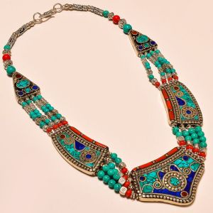 Coral, turquoise and lapis