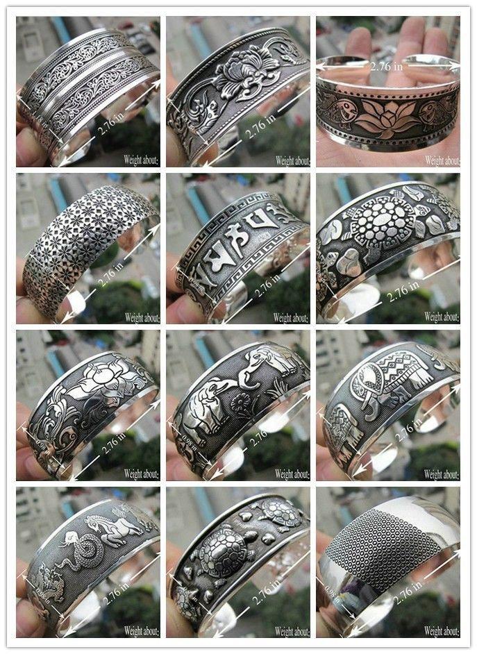 Tibetan Silver Cuff Bracelets En Masse