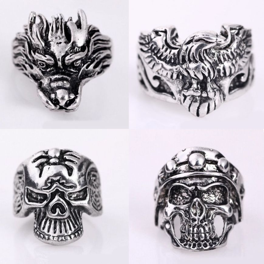 The same skull ring as above can be seen in the lower left of this group auction of rings.