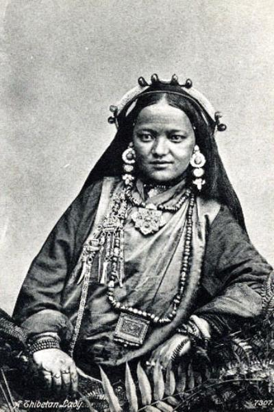 Tibetan Princess circa 1920's wearing traditional dress and typical sizes of beads.