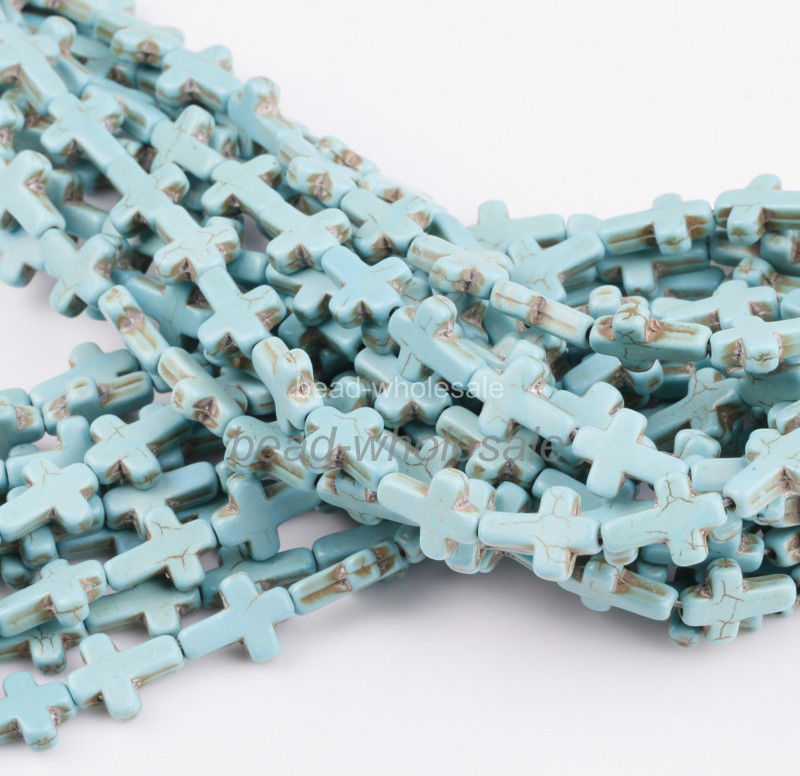 There are tons of these turquoise cross beads being wholesaled, all sold as new, but all are obviously used.