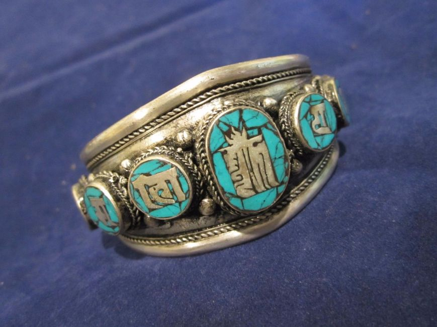 Old turquoise cuff bracelet, polished, being sold as new