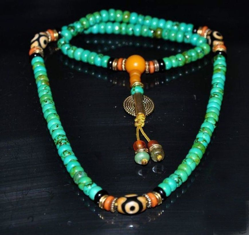 Turquoise prayer beads with dzi eyes