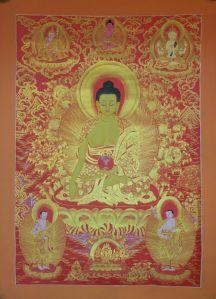 Sakyamuni Buddha Tibetan Thangka 24k Gold